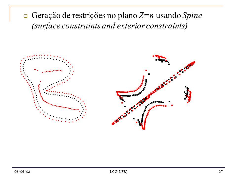 Geração de restrições no plano Z=n usando Spine (surface constraints and exterior constraints)