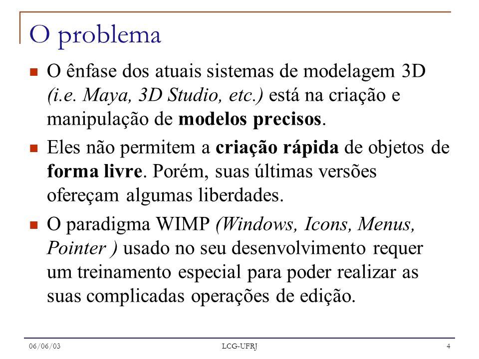 O problema O ênfase dos atuais sistemas de modelagem 3D (i.e. Maya, 3D Studio, etc.) está na criação e manipulação de modelos precisos.