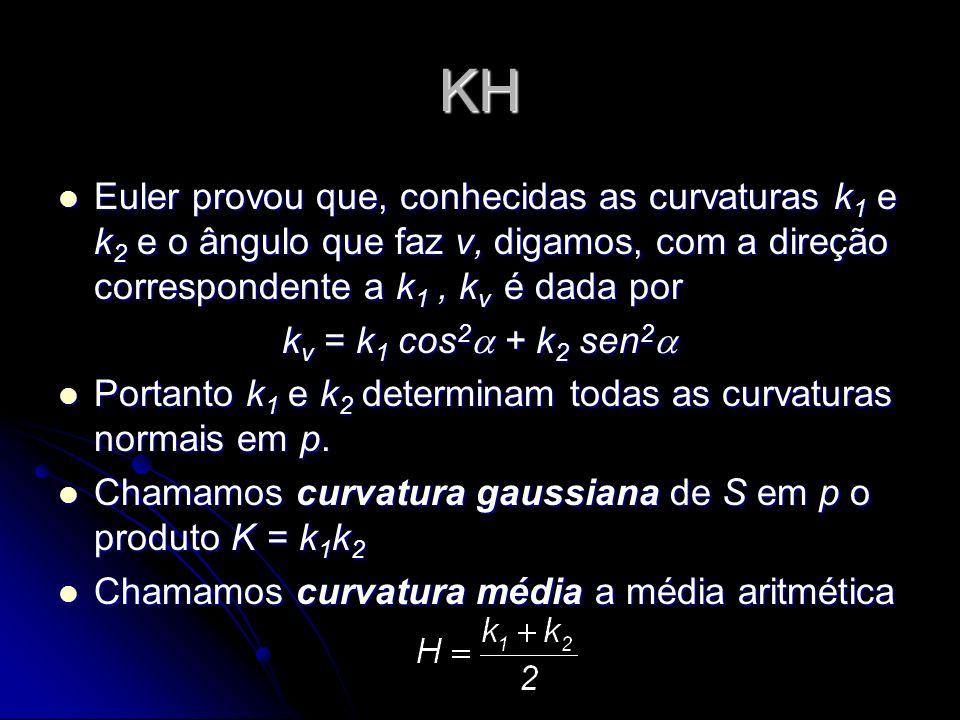 KH Euler provou que, conhecidas as curvaturas k1 e k2 e o ângulo que faz v, digamos, com a direção correspondente a k1 , kv é dada por.
