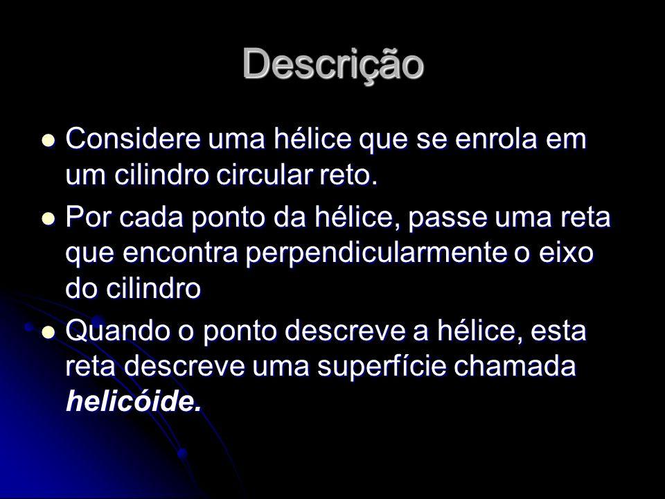 Descrição Considere uma hélice que se enrola em um cilindro circular reto.