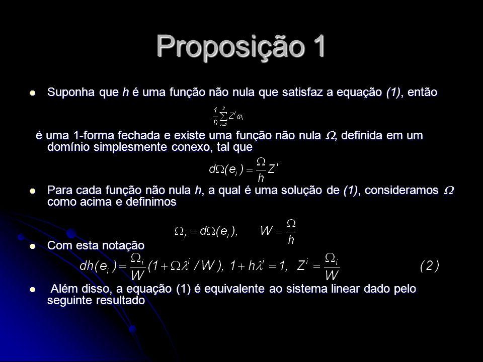 Proposição 1 Suponha que h é uma função não nula que satisfaz a equação (1), então.