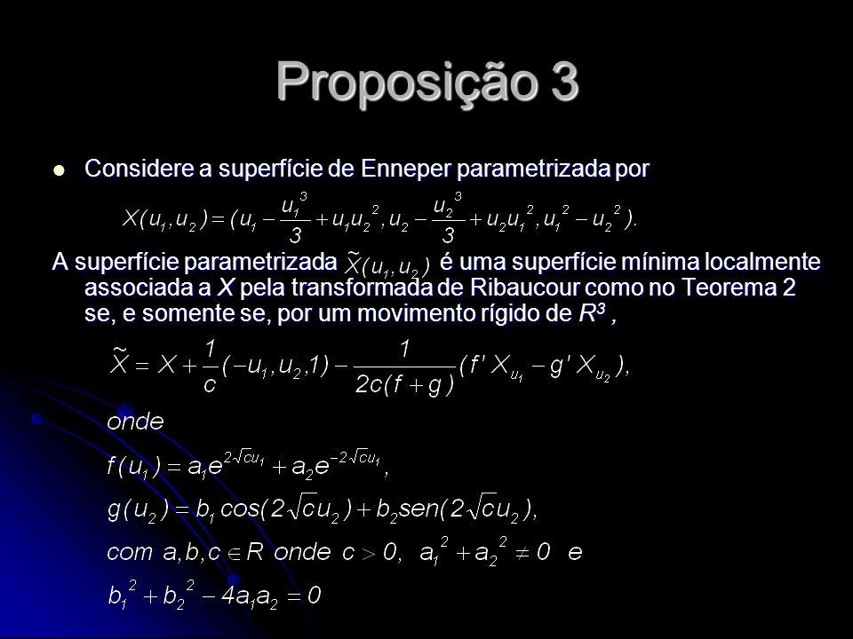 Proposição 3 Considere a superfície de Enneper parametrizada por