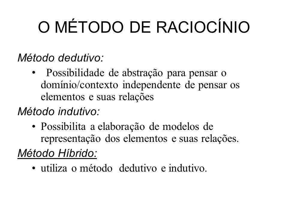 O MÉTODO DE RACIOCÍNIO Método dedutivo: