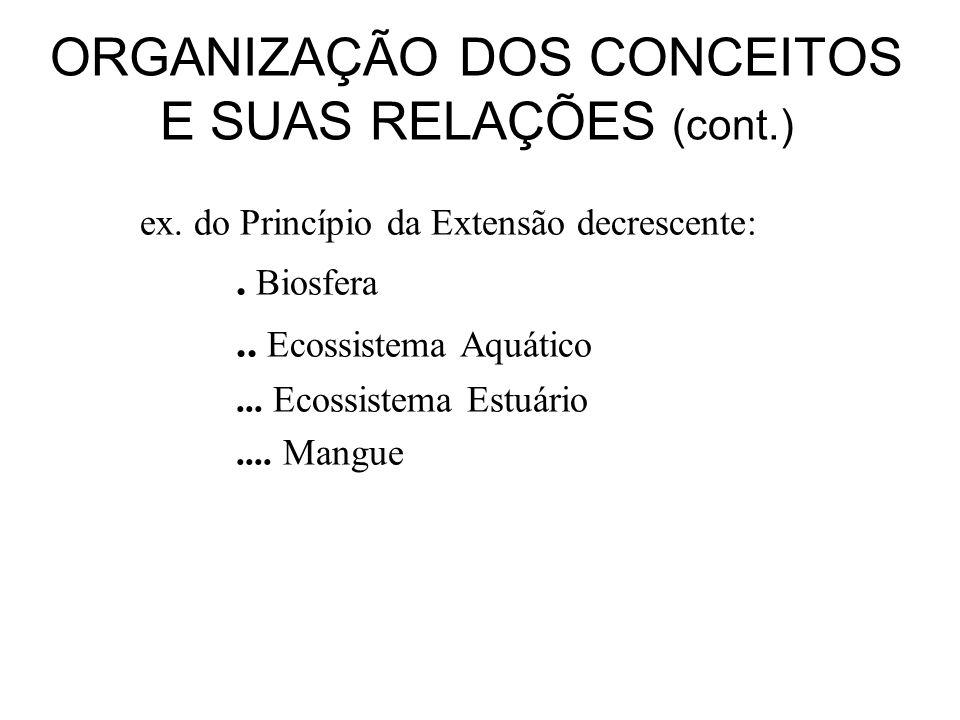 ORGANIZAÇÃO DOS CONCEITOS E SUAS RELAÇÕES (cont.)