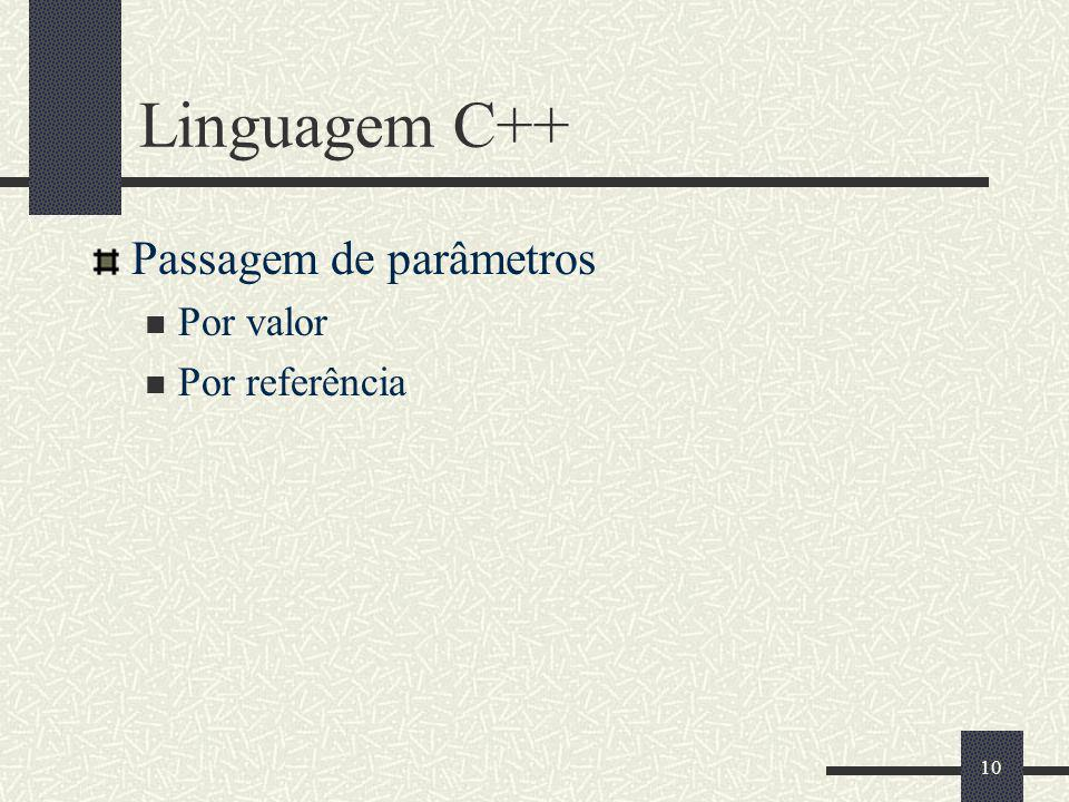 Linguagem C++ Passagem de parâmetros Por valor Por referência