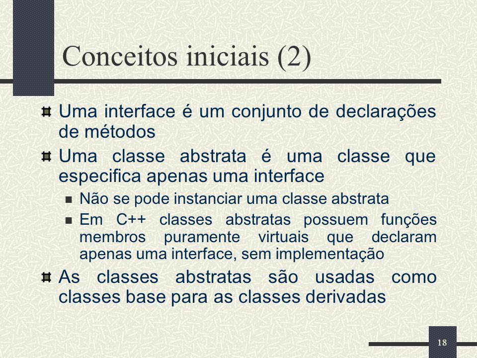 Conceitos iniciais (2) Uma interface é um conjunto de declarações de métodos. Uma classe abstrata é uma classe que especifica apenas uma interface.