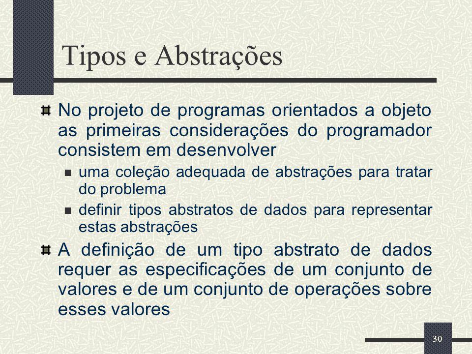 Tipos e Abstrações No projeto de programas orientados a objeto as primeiras considerações do programador consistem em desenvolver.