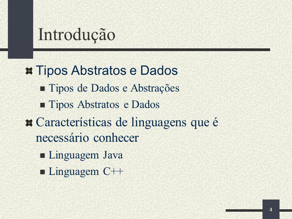 Introdução Tipos Abstratos e Dados