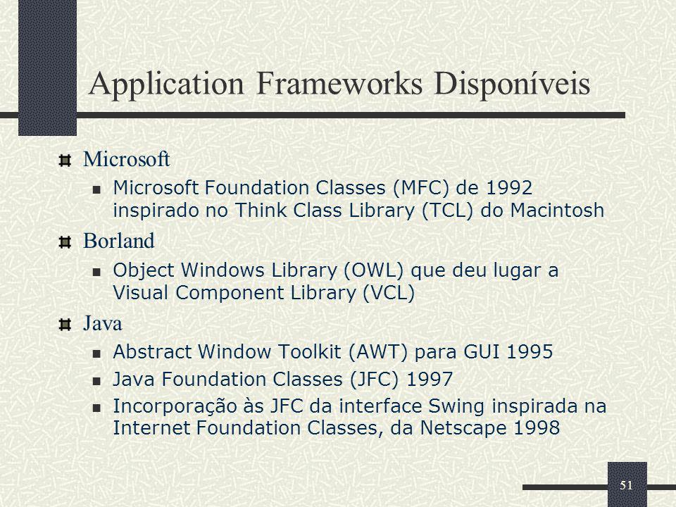 Application Frameworks Disponíveis