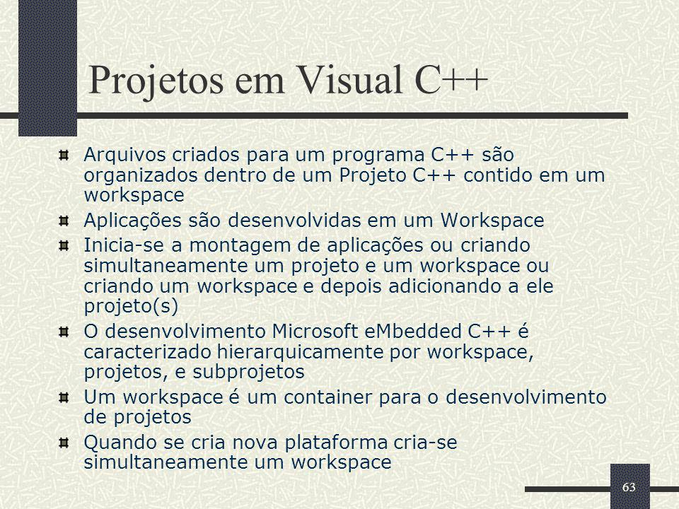 Projetos em Visual C++ Arquivos criados para um programa C++ são organizados dentro de um Projeto C++ contido em um workspace.