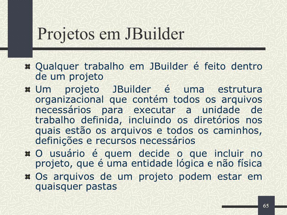 Projetos em JBuilder Qualquer trabalho em JBuilder é feito dentro de um projeto.