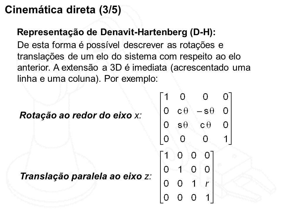 Cinemática direta (3/5) Representação de Denavit-Hartenberg (D-H):