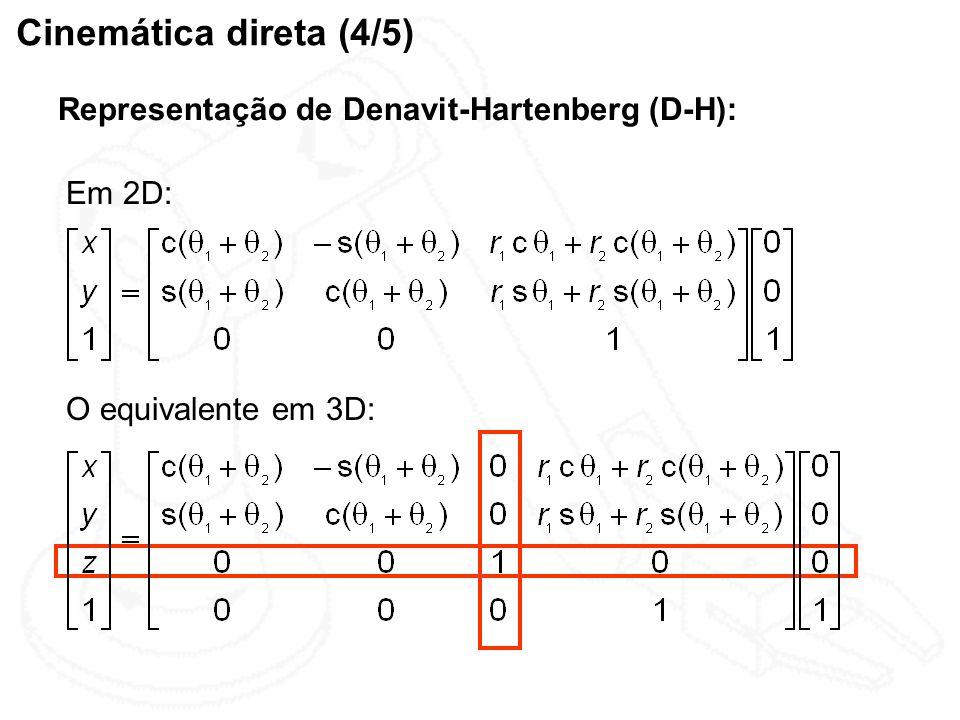 Cinemática direta (4/5) Representação de Denavit-Hartenberg (D-H):