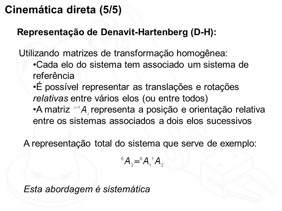 Cinemática direta (5/5) Representação de Denavit-Hartenberg (D-H):