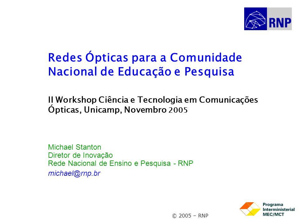 Redes Ópticas para a Comunidade Nacional de Educação e Pesquisa II Workshop Ciência e Tecnologia em Comunicações Ópticas, Unicamp, Novembro 2005