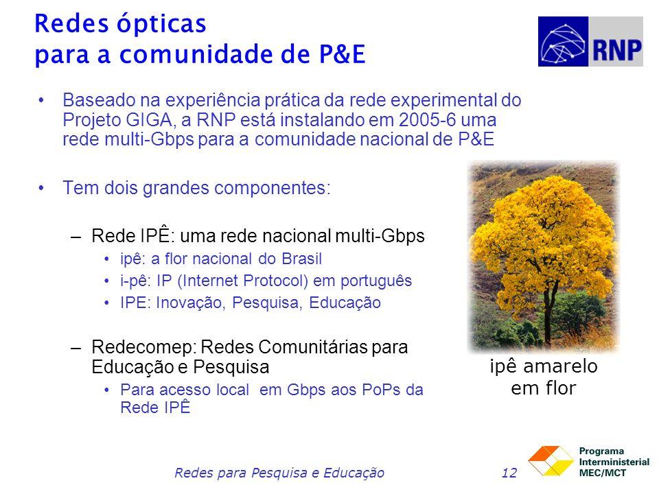 Redes ópticas para a comunidade de P&E