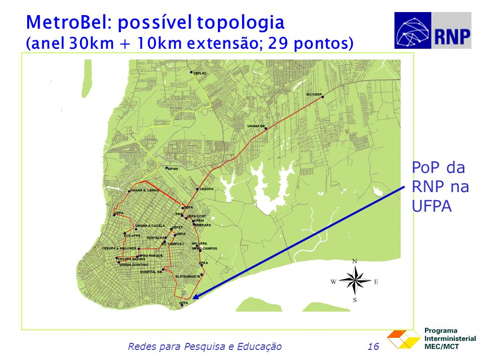 MetroBel: possível topologia (anel 30km + 10km extensão; 29 pontos)