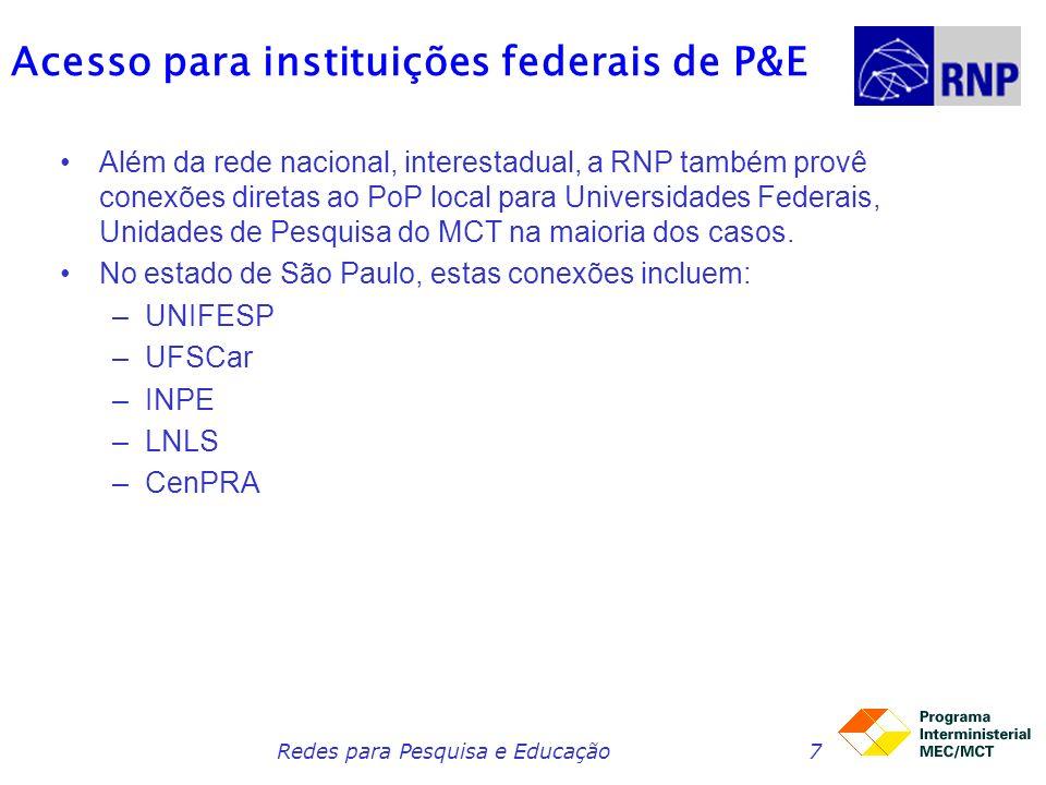 Acesso para instituições federais de P&E