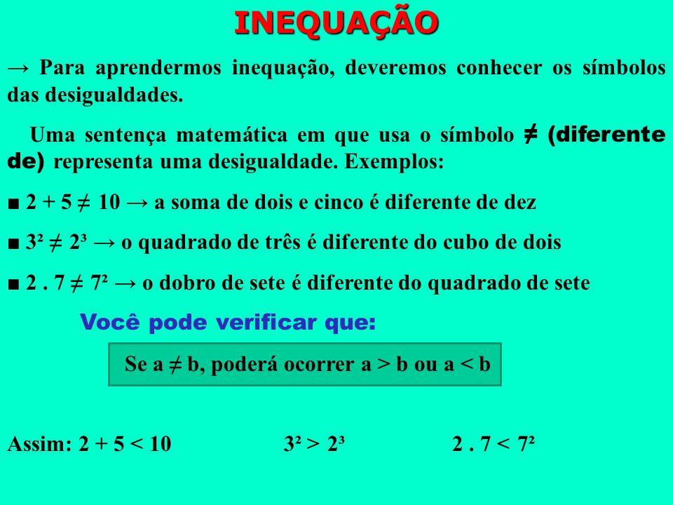 INEQUAÇÃO → Para aprendermos inequação, deveremos conhecer os símbolos das desigualdades.