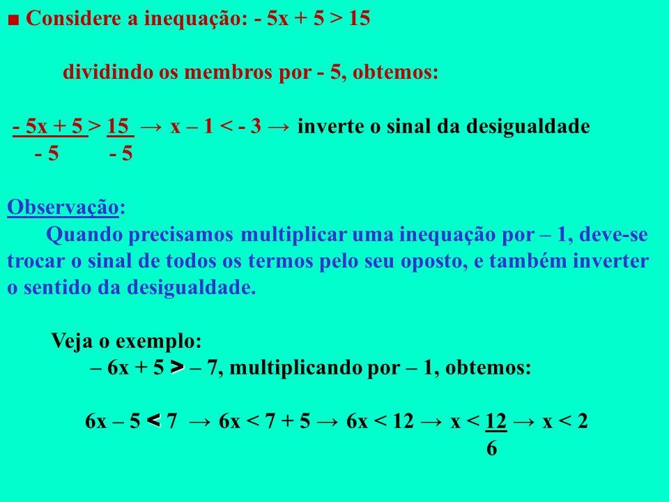 ■ Considere a inequação: - 5x + 5 > 15