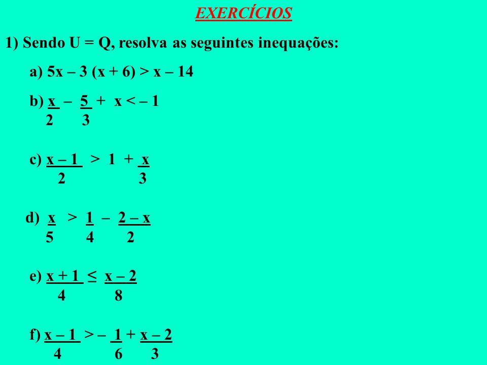 EXERCÍCIOS 1) Sendo U = Q, resolva as seguintes inequações: a) 5x – 3 (x + 6) > x – 14. b) x – 5 + x < – 1.