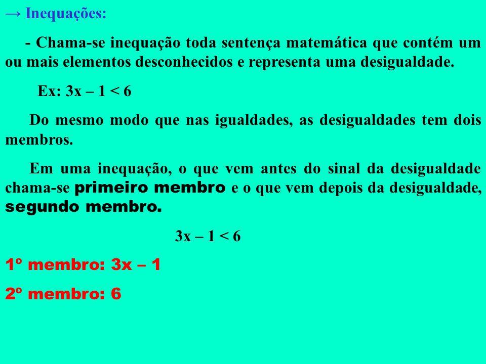 → Inequações: - Chama-se inequação toda sentença matemática que contém um ou mais elementos desconhecidos e representa uma desigualdade.