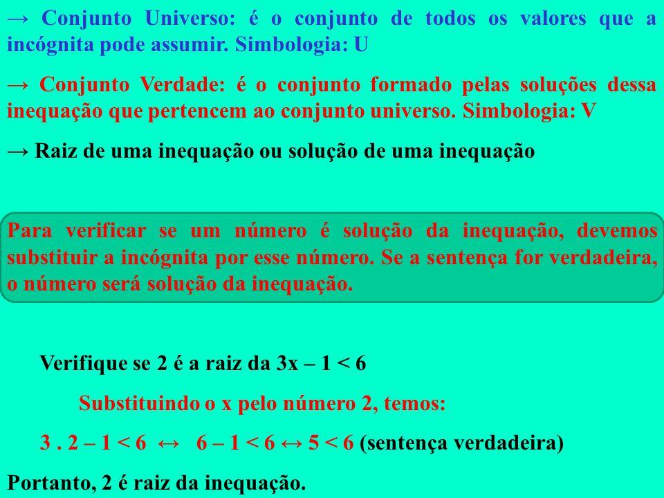 → Conjunto Universo: é o conjunto de todos os valores que a incógnita pode assumir. Simbologia: U