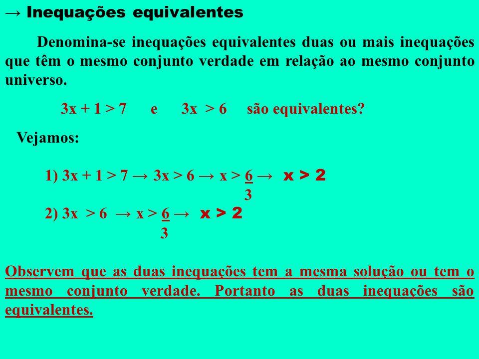 → Inequações equivalentes