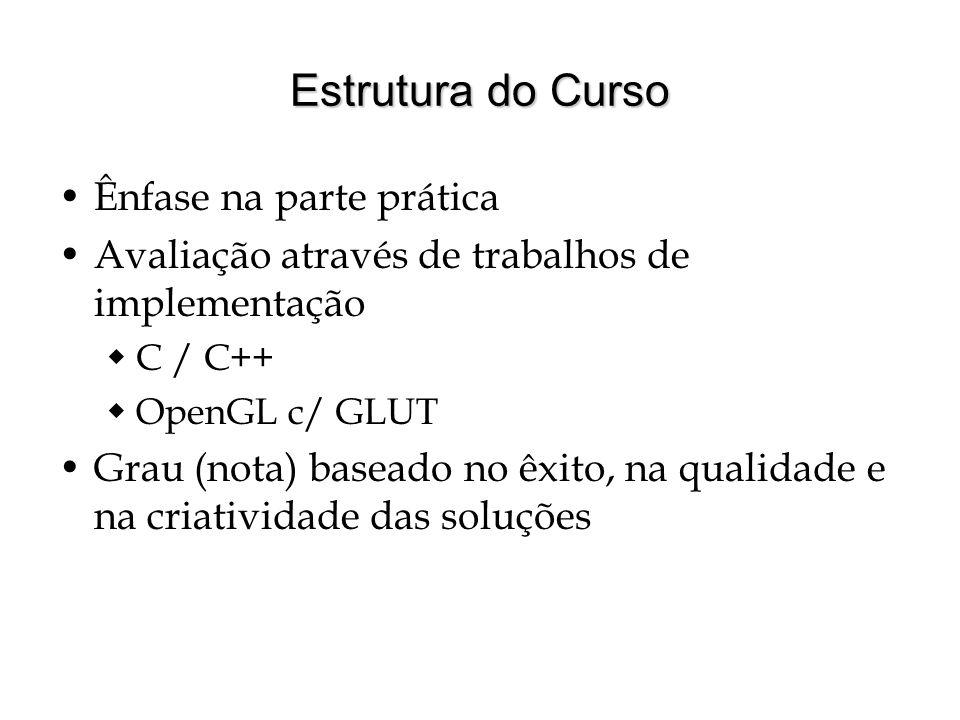 Estrutura do Curso Ênfase na parte prática
