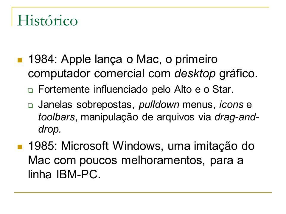 Histórico1984: Apple lança o Mac, o primeiro computador comercial com desktop gráfico. Fortemente influenciado pelo Alto e o Star.