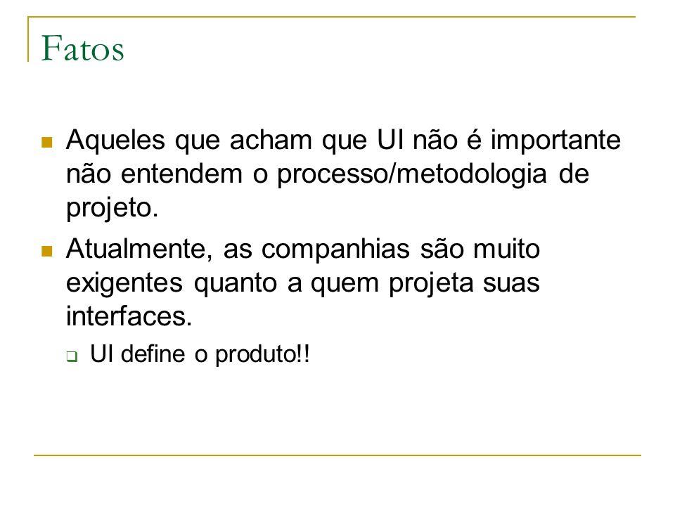 Fatos Aqueles que acham que UI não é importante não entendem o processo/metodologia de projeto.