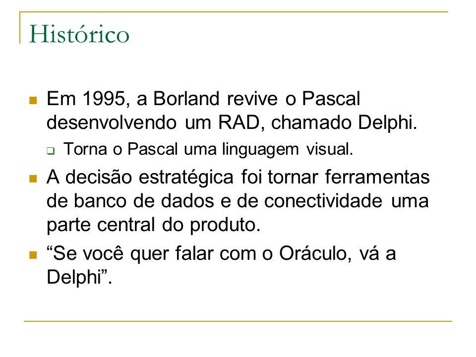 Histórico Em 1995, a Borland revive o Pascal desenvolvendo um RAD, chamado Delphi. Torna o Pascal uma linguagem visual.