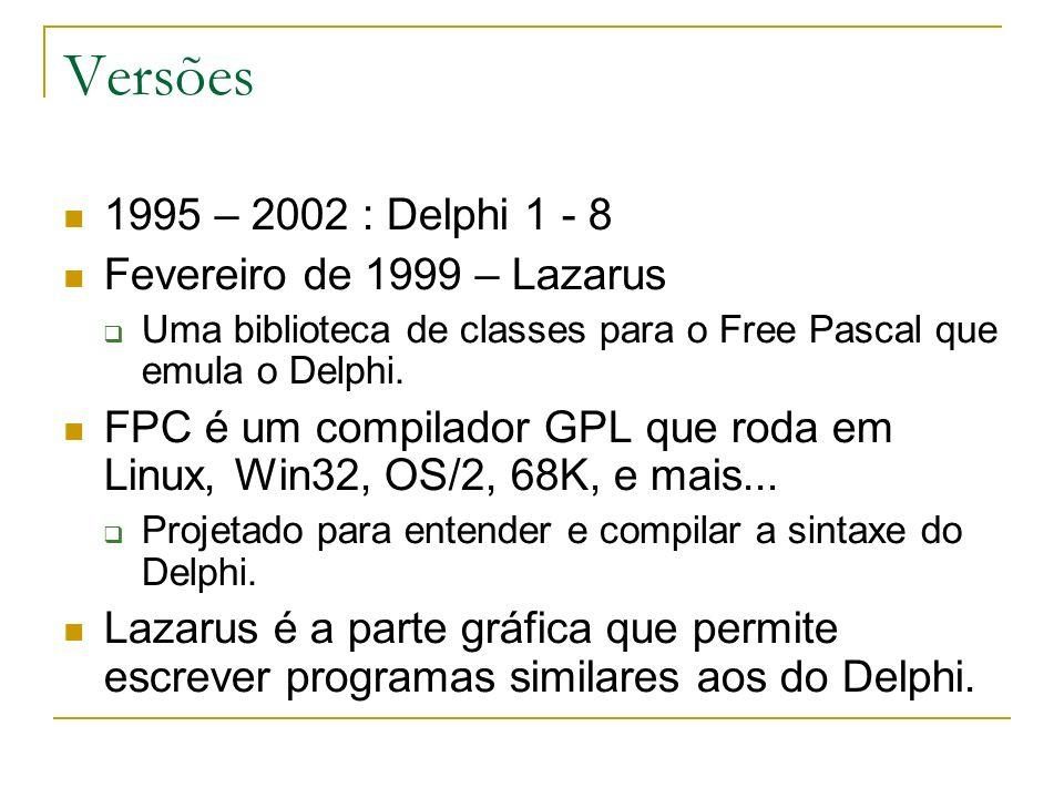 Versões 1995 – 2002 : Delphi 1 - 8 Fevereiro de 1999 – Lazarus