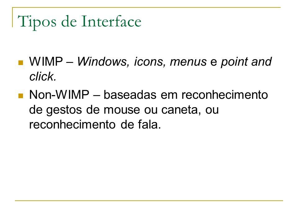 Tipos de Interface WIMP – Windows, icons, menus e point and click.