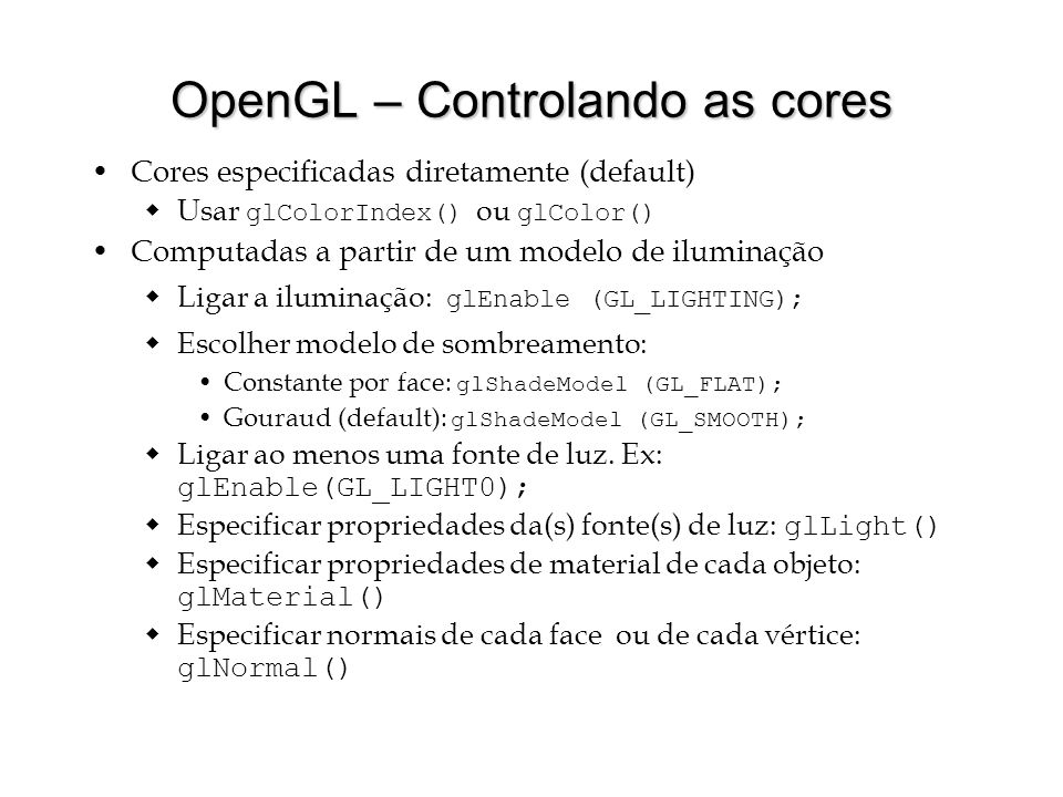 OpenGL – Controlando as cores