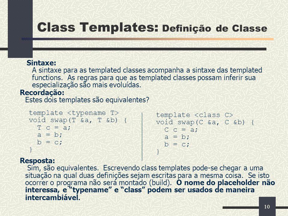 Class Templates: Definição de Classe