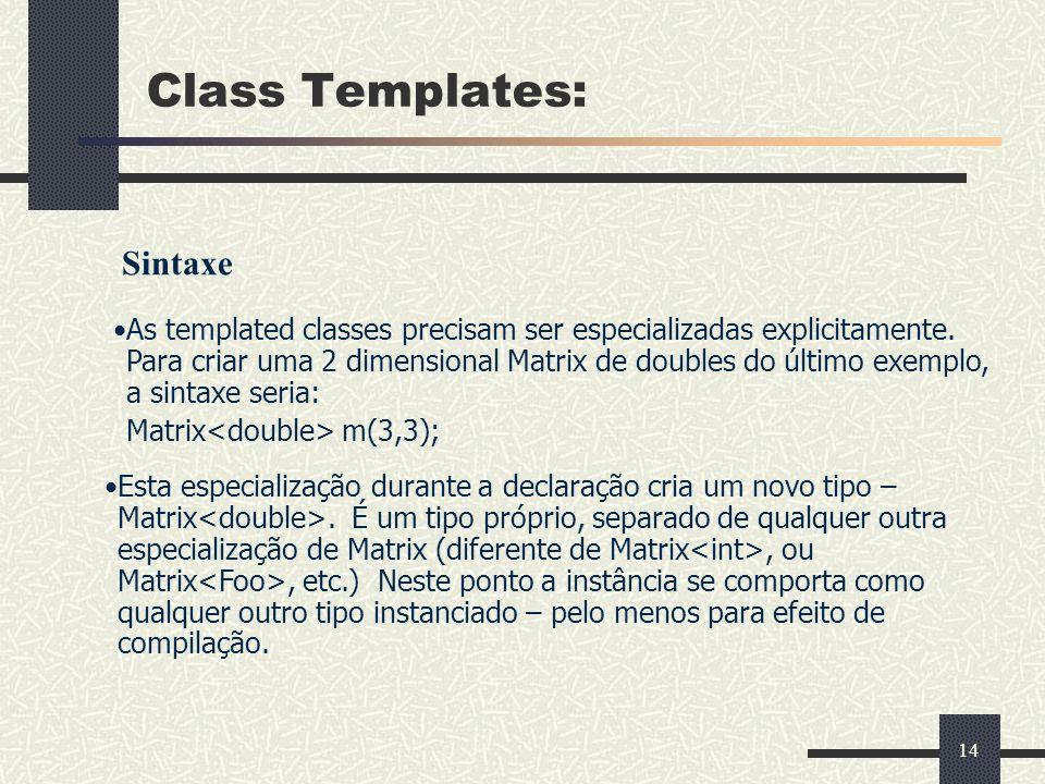 Class Templates: Sintaxe