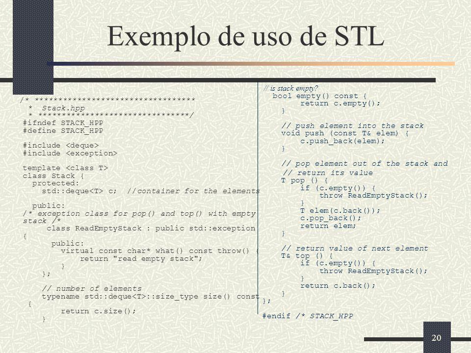 Exemplo de uso de STL