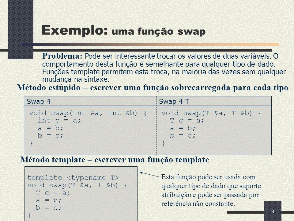Exemplo: uma função swap