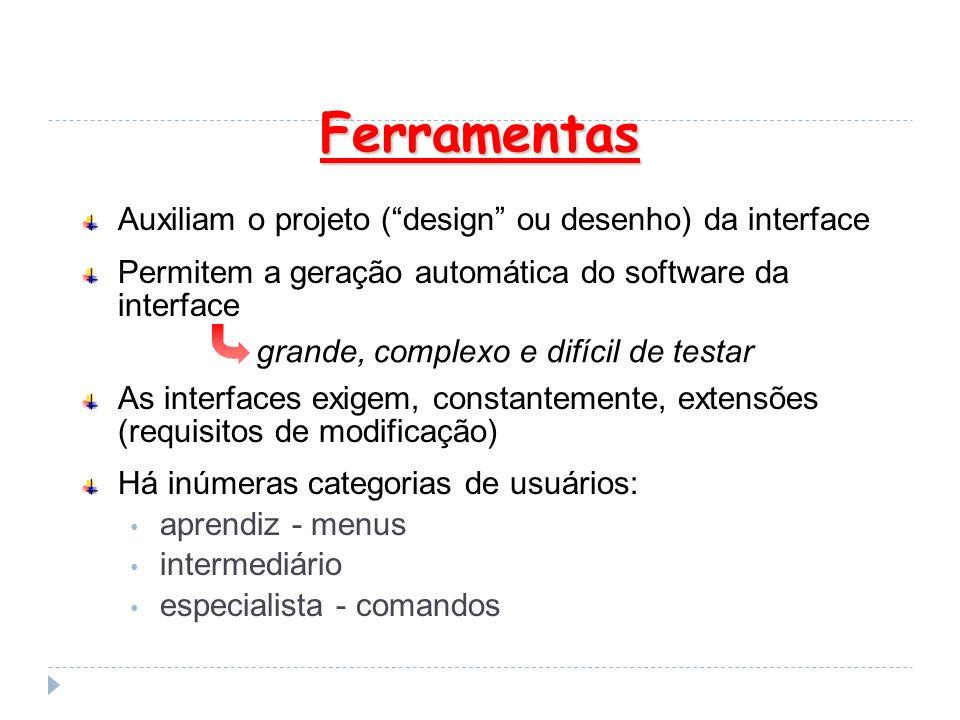 Ferramentas Auxiliam o projeto ( design ou desenho) da interface
