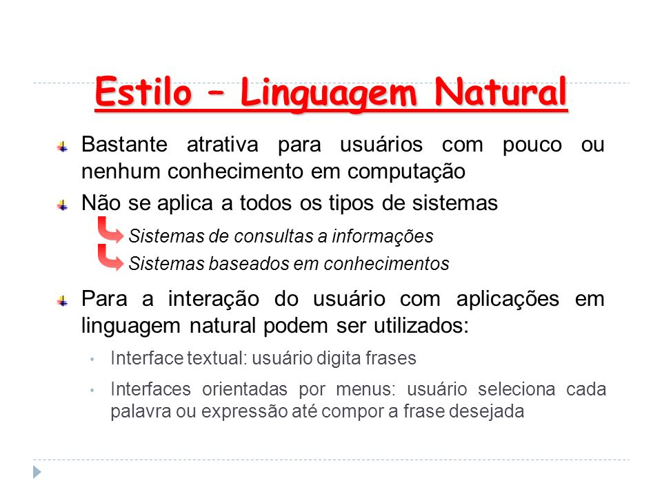 Estilo – Linguagem Natural