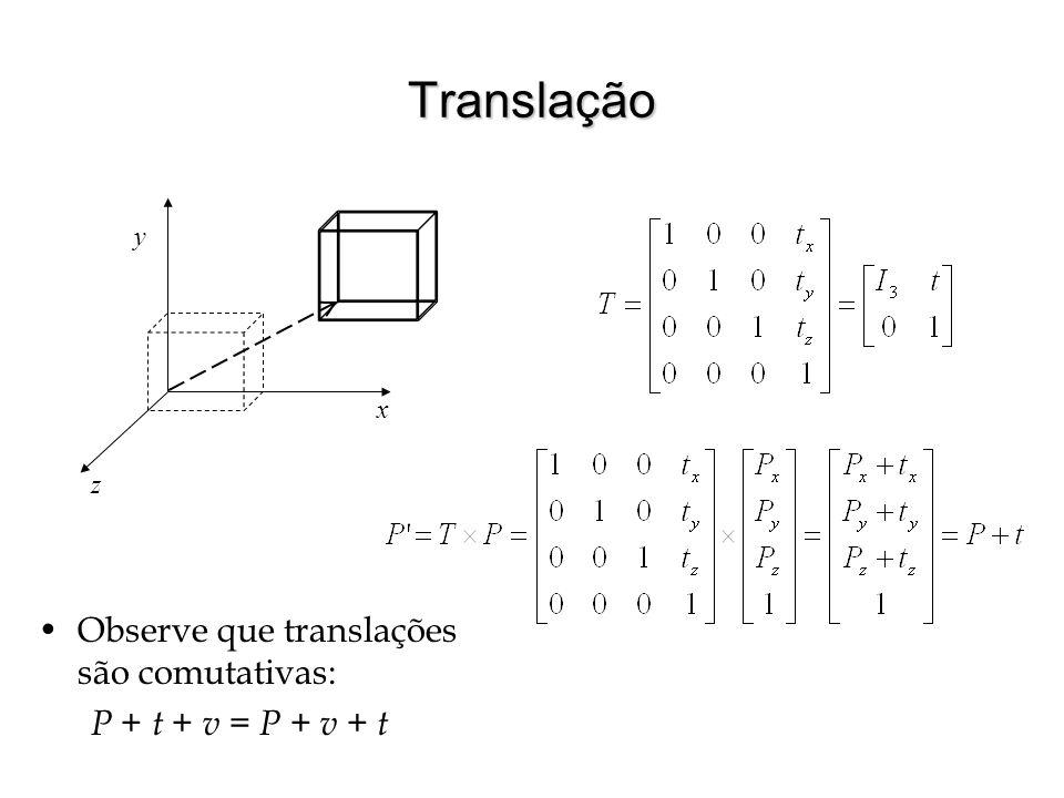 Translação Observe que translações são comutativas: