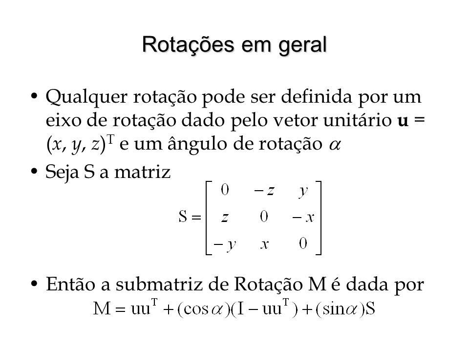 Rotações em geral Qualquer rotação pode ser definida por um eixo de rotação dado pelo vetor unitário u = (x, y, z)T e um ângulo de rotação 