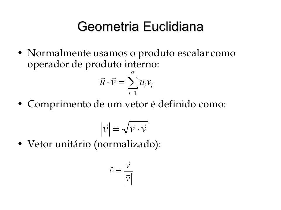 Geometria Euclidiana Normalmente usamos o produto escalar como operador de produto interno: Comprimento de um vetor é definido como: