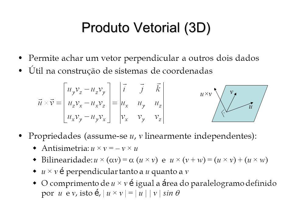 Produto Vetorial (3D) Permite achar um vetor perpendicular a outros dois dados. Útil na construção de sistemas de coordenadas.
