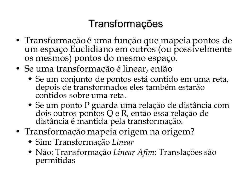 Transformações Transformação é uma função que mapeia pontos de um espaço Euclidiano em outros (ou possivelmente os mesmos) pontos do mesmo espaço.