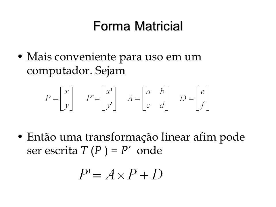 Forma Matricial Mais conveniente para uso em um computador. Sejam