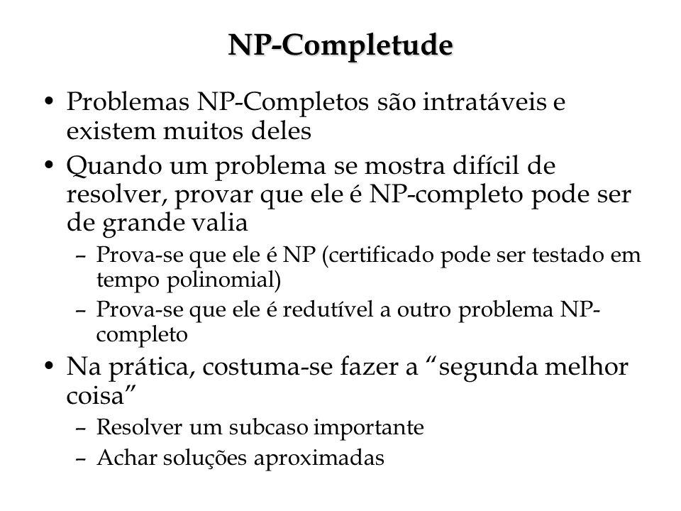 NP-Completude Problemas NP-Completos são intratáveis e existem muitos deles.