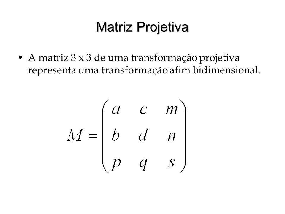 Matriz Projetiva A matriz 3 x 3 de uma transformação projetiva representa uma transformação afim bidimensional.