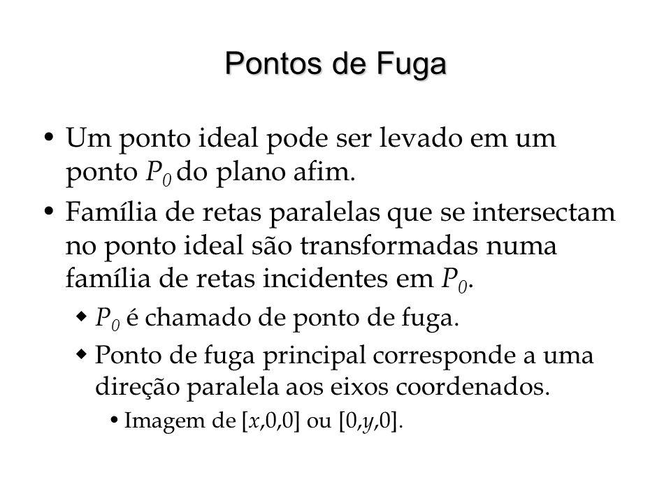 Pontos de Fuga Um ponto ideal pode ser levado em um ponto P0 do plano afim.